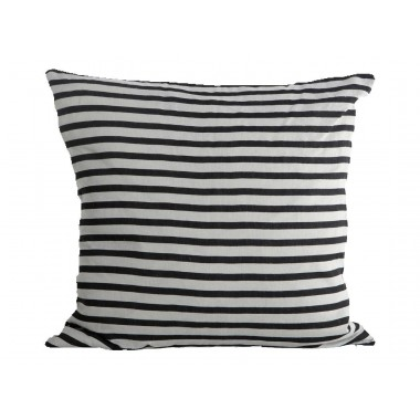 Funda cojín Stripe, negro y gris