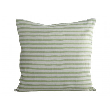 Funda cojín Stripe, verde y gris