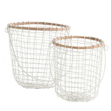 Set cestas Wire, blanco