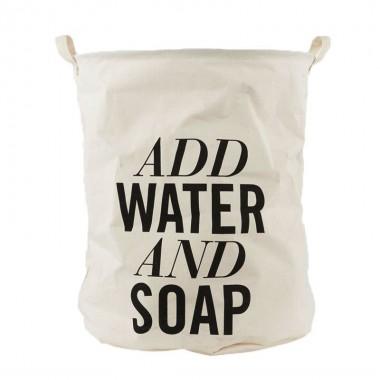 """Bolsa ropa sucia, """"Add water and soap"""""""