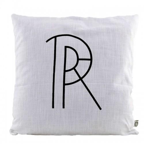"""Funda cojín, blanca """"R"""""""