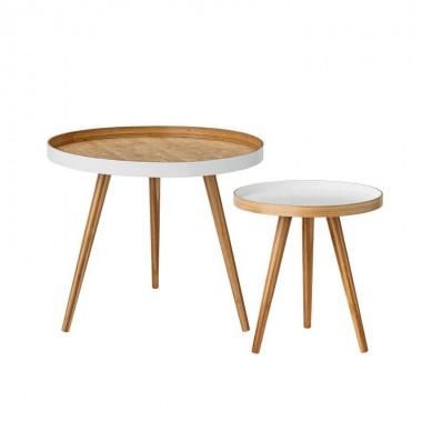 Set mesas auxiliares bambú