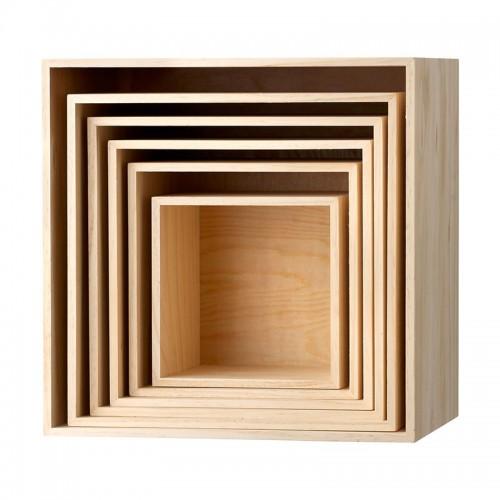Set de cajas cuadradas librería, pino