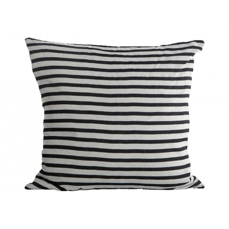 Funda cojín Stripe negro y gris