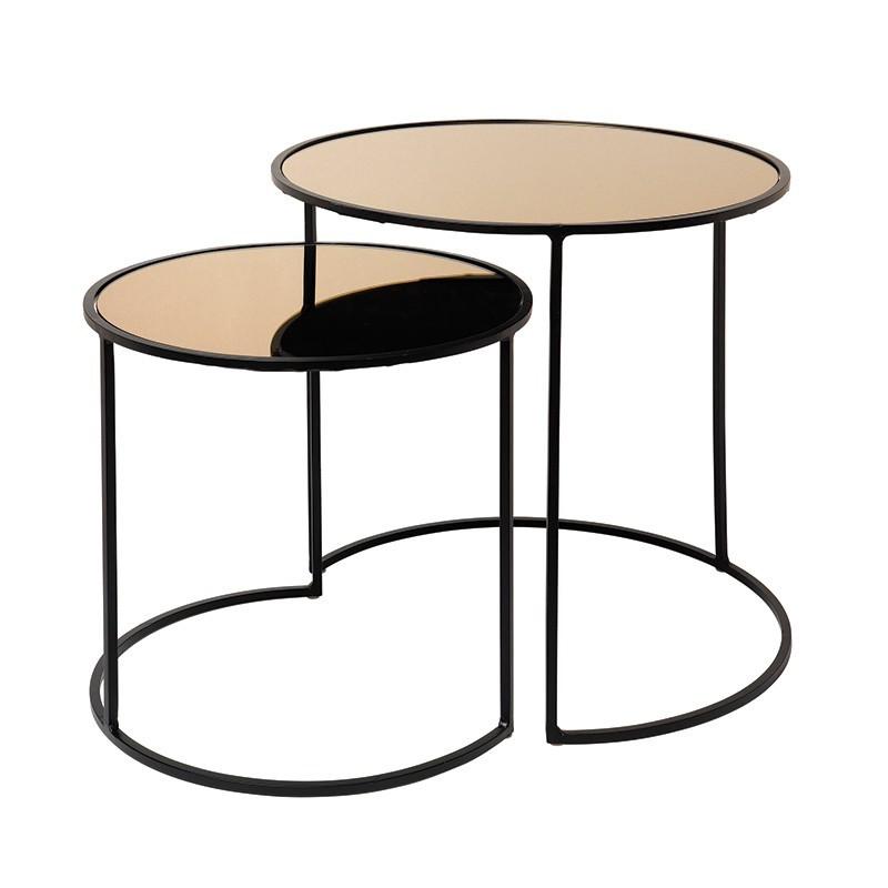 Set mesa auxiliar Stends, bronce