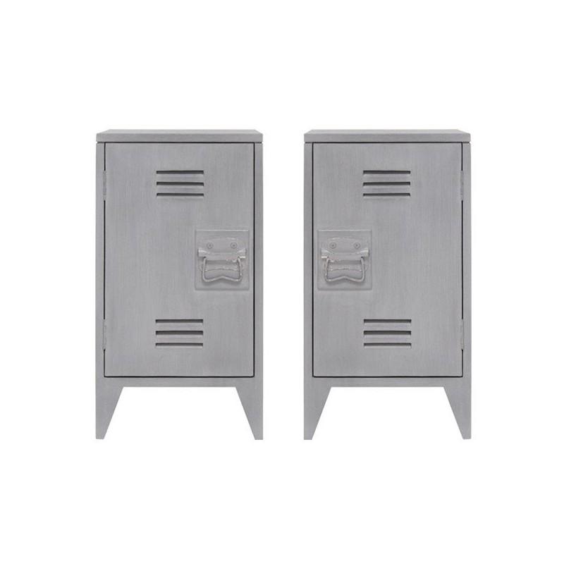 Mesita noche Locker-Style gris