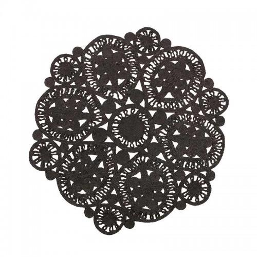 Alfombra Crochet negro Ø150cm