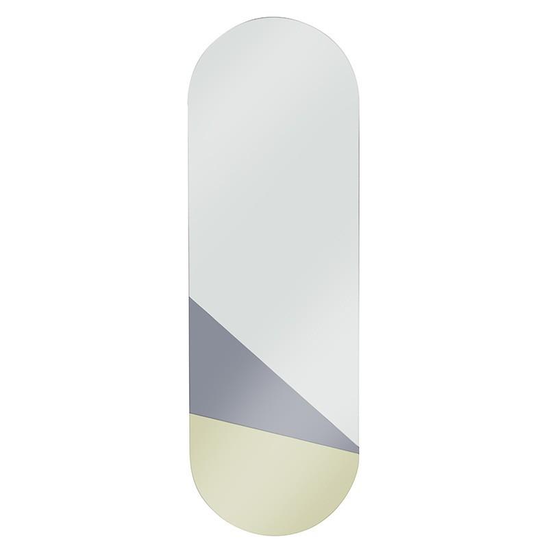 Espejo Geometric L, dorado / gris