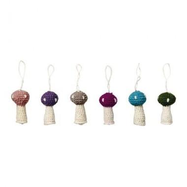Set de 6 adornos setas crochet