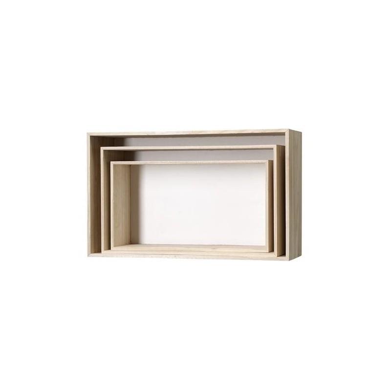 Set cajas rectangulares librería blanco