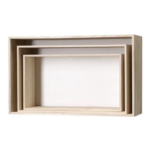 Set cajas rectangulares librería, blanco