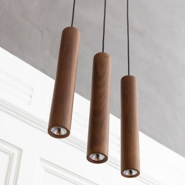 Lámpara Chimes, roble oscuro