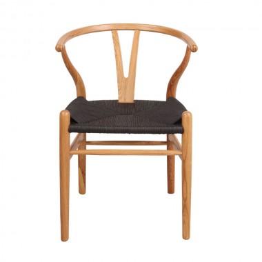 Silla Wishbone natural, asiento negro