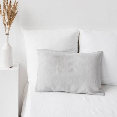 Funda cojín lino lavado gris claro