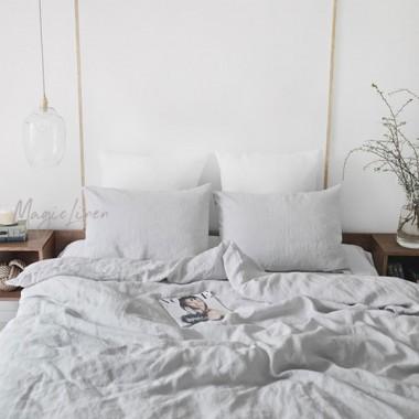 Sabana bajera cojín lino lavado gris claro