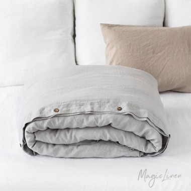 Funda edredón lino lavado gris claro