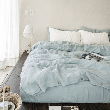 Funda cojín lino lavado azul claro