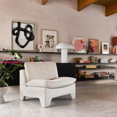 Sillón lounge Boucle, crema