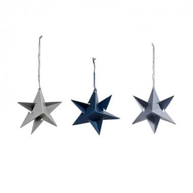 Set de 3 Paper stars gris