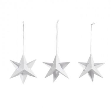 Set de 3 Paper stars blanco